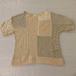 Chico's Short Sleeve Knit Patchwork Sweater Size 2